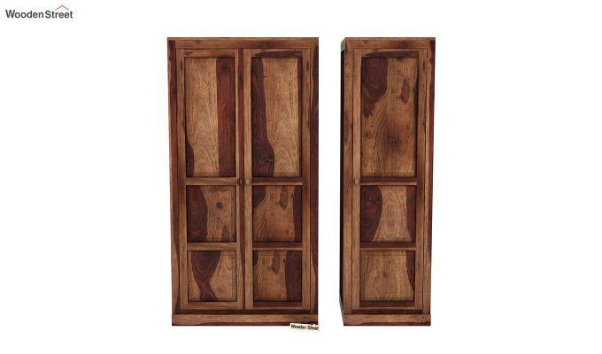 Charles 3 Door Multi Utility Wardrobe (Teak Finish)-5