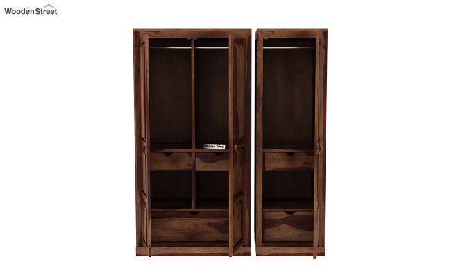 Charles 3 Door Multi Utility Wardrobe (Teak Finish)-7
