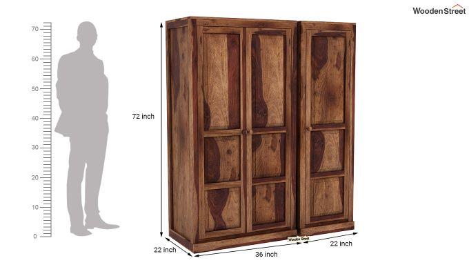 Charles 3 Door Multi Utility Wardrobe (Teak Finish)-8