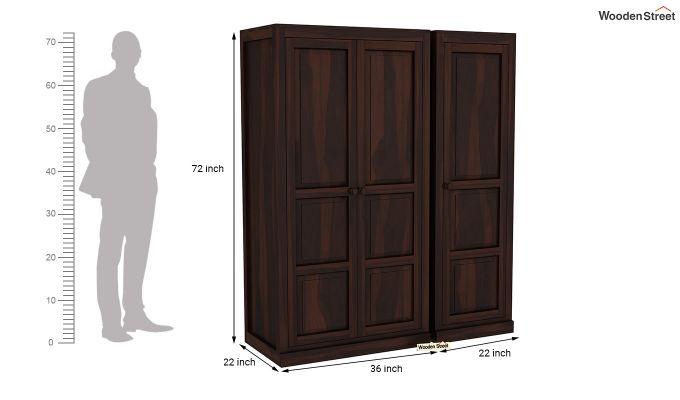 Charles 3 Door Multi Utility Wardrobe (Walnut Finish)-8