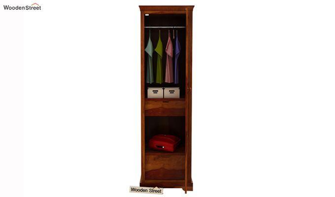 Charles 1 Door Multi Utility Wardrobe (Honey Finish)-2