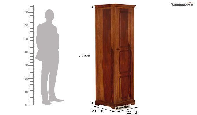Charles 1 Door Multi Utility Wardrobe (Honey Finish)-4