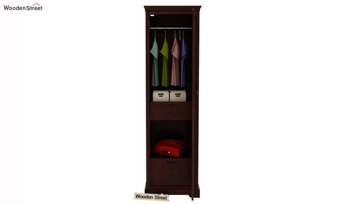 Charles 1 Door Multi Utility Wardrobe (Mahogany Finish)-2