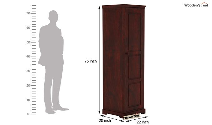 Charles 1 Door Multi Utility Wardrobe (Mahogany Finish)-4