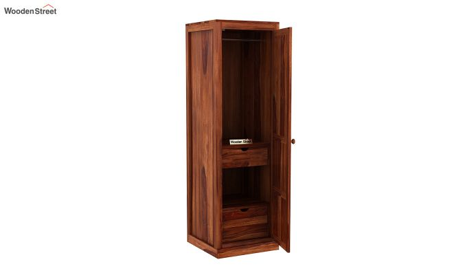 Charles 1 Door Multi Utility Wardrobe (Honey Finish)-4