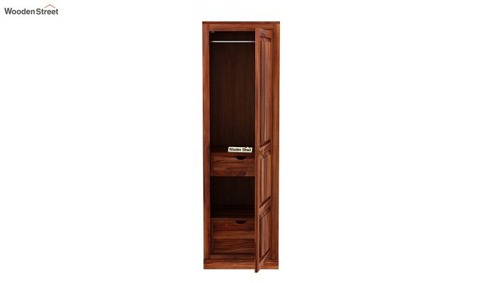 Charles 1 Door Multi Utility Wardrobe (Honey Finish)-5