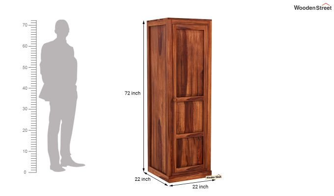 Charles 1 Door Multi Utility Wardrobe (Honey Finish)-6