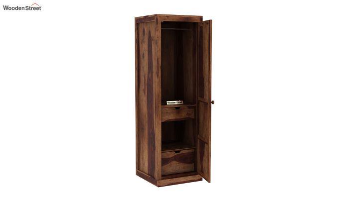 Charles 1 Door Multi Utility Wardrobe (Teak Finish)-4