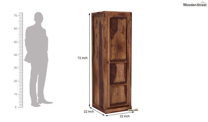 Charles 1 Door Multi Utility Wardrobe (Teak Finish)-6