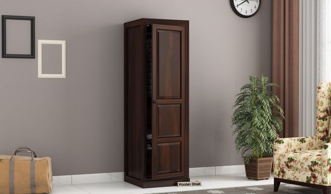 Charles 1 Door Multi Utility Wardrobe (Walnut Finish)-1