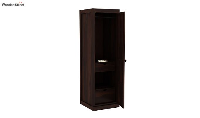 Charles 1 Door Multi Utility Wardrobe (Walnut Finish)-4