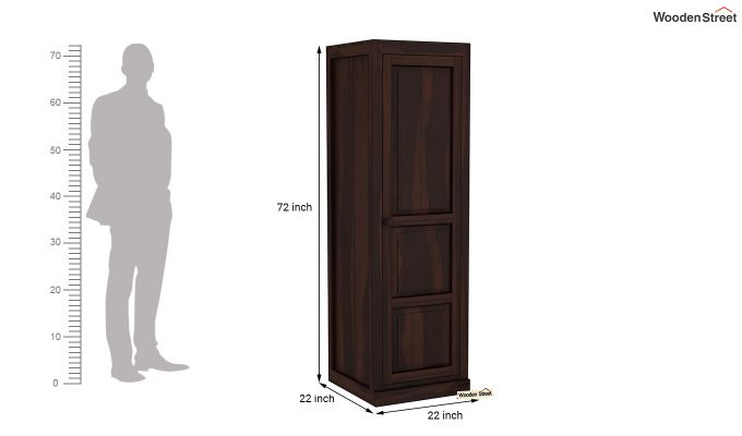 Charles 1 Door Multi Utility Wardrobe (Walnut Finish)-6