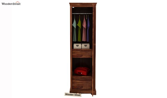Charles 1 Door Multi Utility Wardrobe (Teak Finish)-2