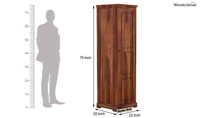 Charles 1 Door Multi Utility Wardrobe (Teak Finish)-4