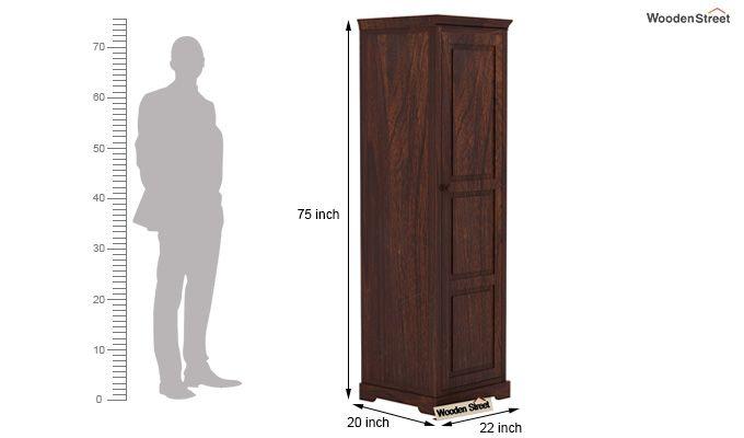 Charles 1 Door Multi Utility Wardrobe (Walnut Finish)-5