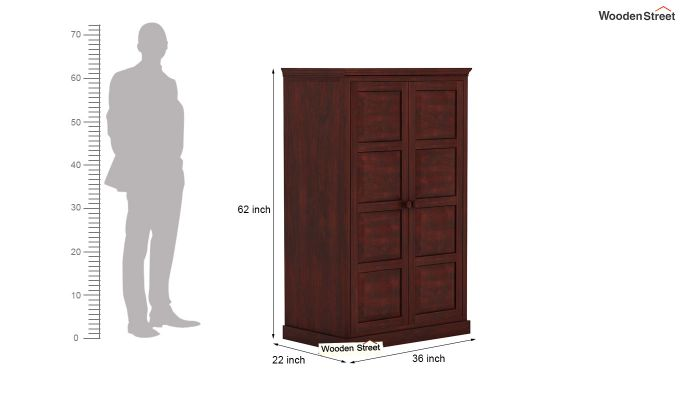 Charles Medium Size Wardrobe (Mahogany Finish)-5