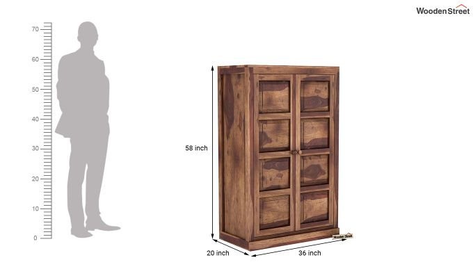 Charles Medium Size Wardrobe (Teak Finish)-6