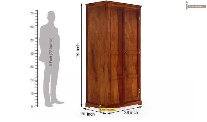 Charles Multi Utility Wardrobe (Honey Finish)-8