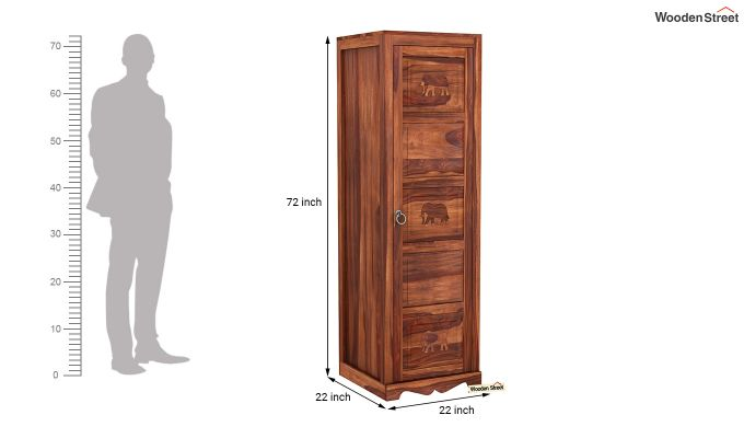 Emboss 1 Door Multi Utility Wardrobe (Honey Finish)-6