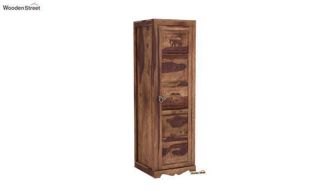 Emboss 1 Door Multi Utility Wardrobe (Teak Finish)-2