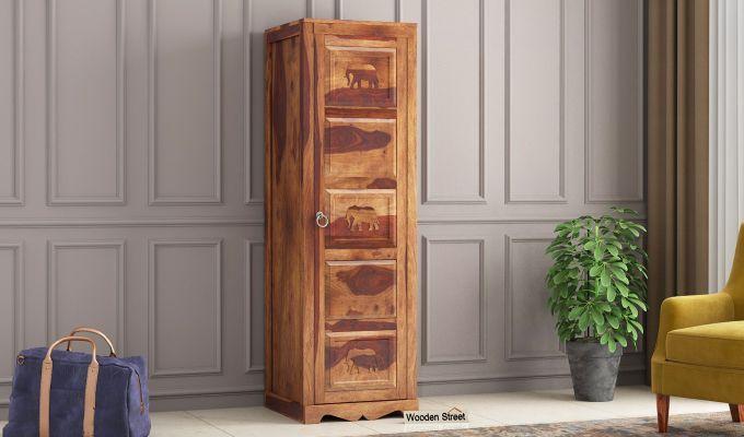Emboss 1 Door Multi Utility Wardrobe (Teak Finish)-1
