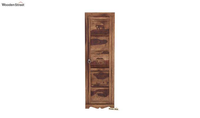 Emboss 1 Door Multi Utility Wardrobe (Teak Finish)-3