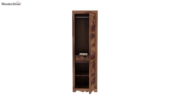 Emboss 1 Door Multi Utility Wardrobe (Teak Finish)-5