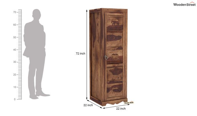 Emboss 1 Door Multi Utility Wardrobe (Teak Finish)-6