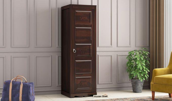 Emboss 1 Door Multi Utility Wardrobe (Walnut Finish)-1