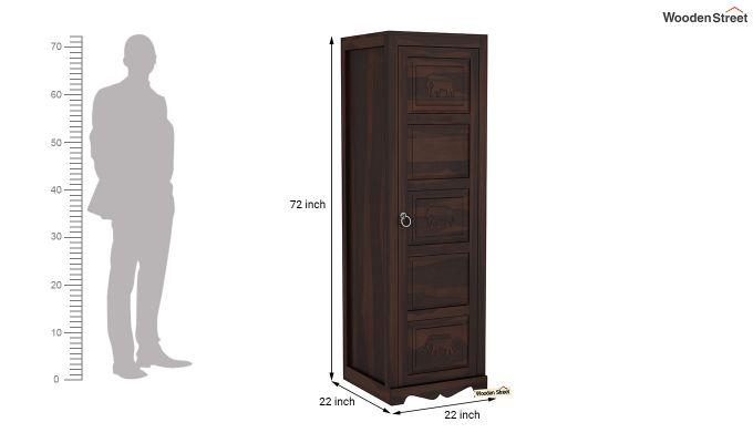 Emboss 1 Door Multi Utility Wardrobe (Walnut Finish)-6