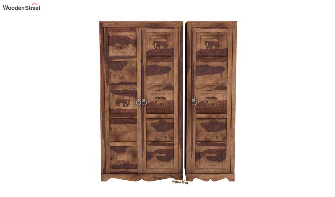 Emboss 3 Door Multi Utility Wardrobe (Teak Finish)-3