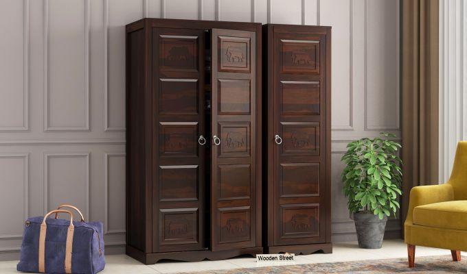 Emboss 3 Door Multi Utility Wardrobe (Walnut Finish)-1