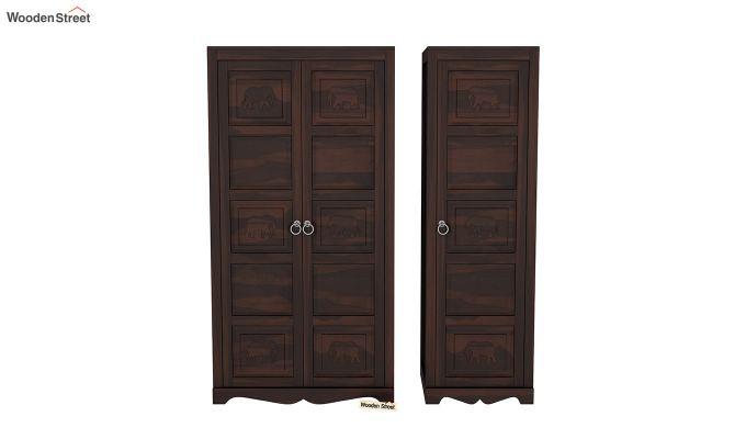 Emboss 3 Door Multi Utility Wardrobe (Walnut Finish)-5
