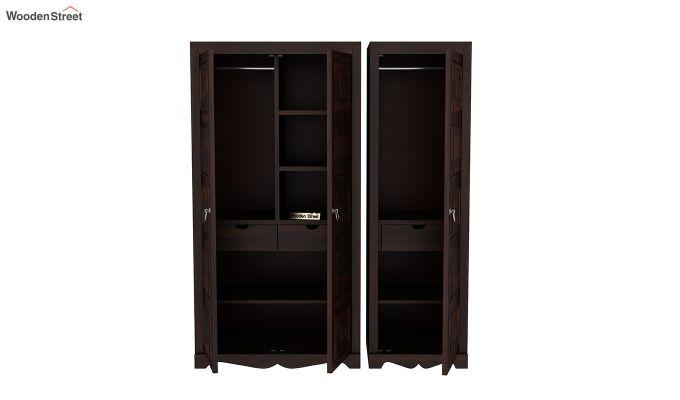 Emboss 3 Door Multi Utility Wardrobe (Walnut Finish)-7