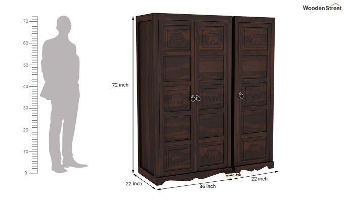 Emboss 3 Door Multi Utility Wardrobe (Walnut Finish)-8
