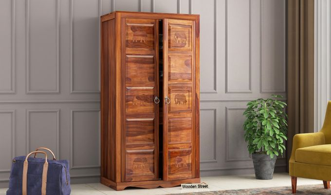 Emboss 2 Door Multi Utility Wardrobe (Honey Finish)-1