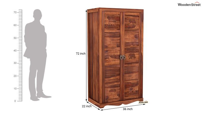 Emboss 2 Door Multi Utility Wardrobe (Honey Finish)-6