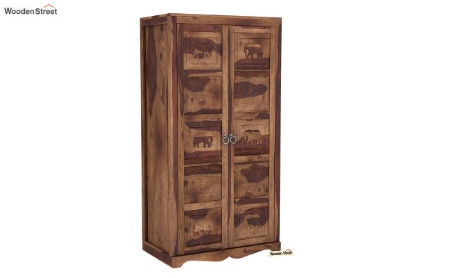 Emboss 2 Door Multi Utility Wardrobe (Teak Finish)-2