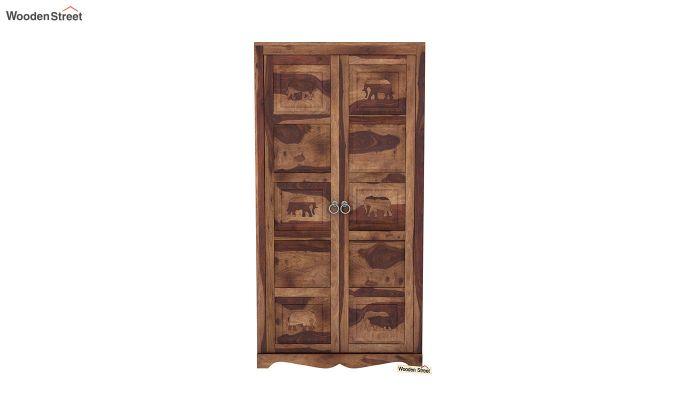 Emboss 2 Door Multi Utility Wardrobe (Teak Finish)-3