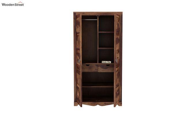 Emboss 2 Door Multi Utility Wardrobe (Teak Finish)-5