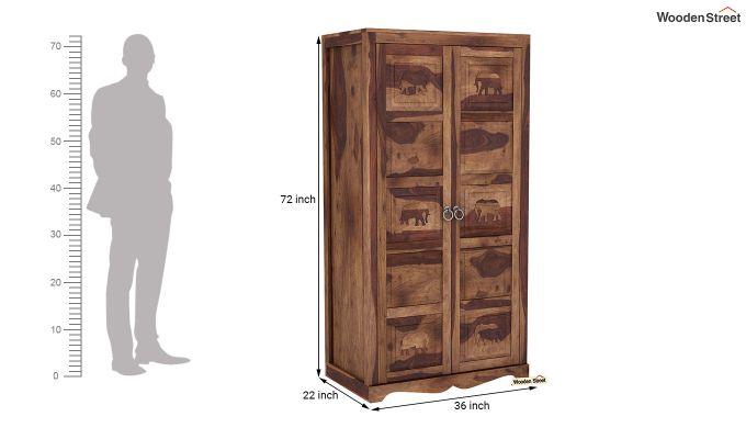 Emboss 2 Door Multi Utility Wardrobe (Teak Finish)-6
