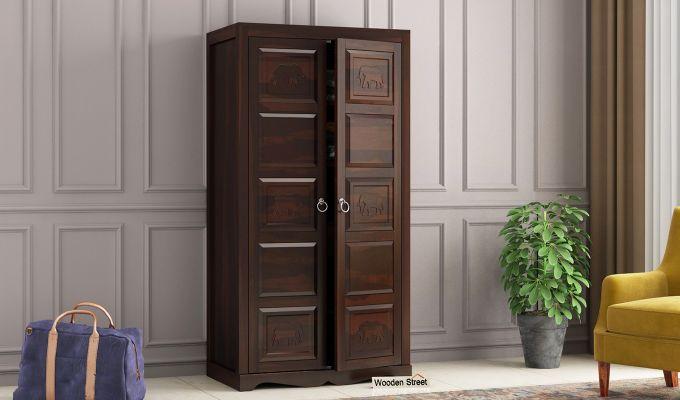 Emboss 2 Door Multi Utility Wardrobe (Walnut Finish)-1