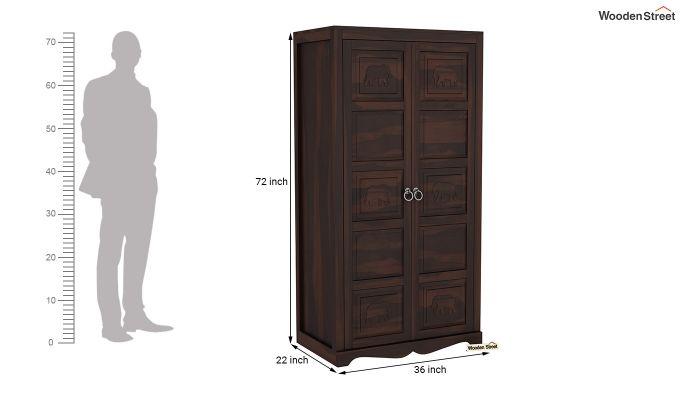 Emboss 2 Door Multi Utility Wardrobe (Walnut Finish)-6