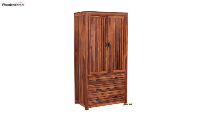 Felner 2 Door Multi Utility Wardrobe (Honey Finish)-2
