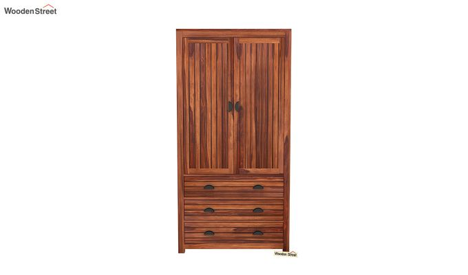 Felner 2 Door Multi Utility Wardrobe (Honey Finish)-3