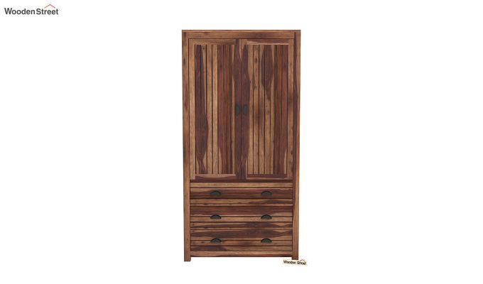 Felner 2 Door Multi Utility Wardrobe (Teak Finish)-3
