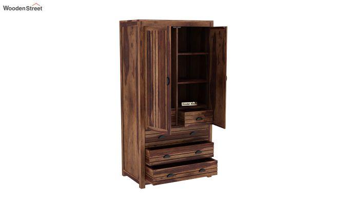 Felner 2 Door Multi Utility Wardrobe (Teak Finish)-4