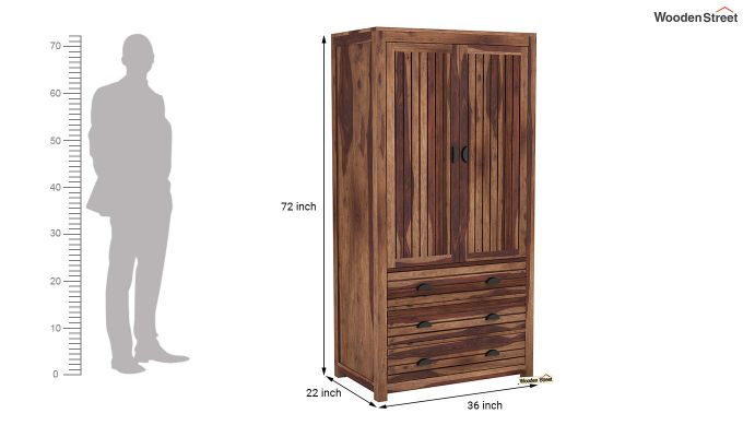 Felner 2 Door Multi Utility Wardrobe (Teak Finish)-6
