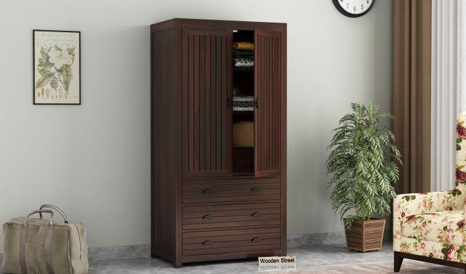 Felner 2 Door Multi Utility Wardrobe (Walnut Finish)-1