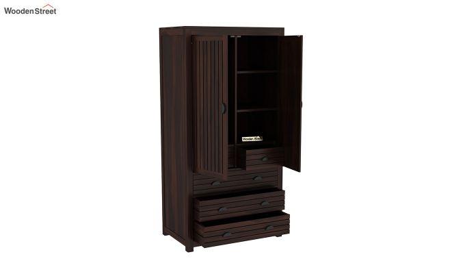 Felner 2 Door Multi Utility Wardrobe (Walnut Finish)-4
